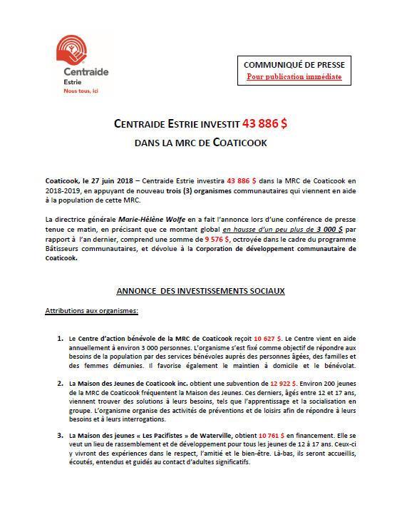 COATICOOK, MRC DE COATICOOK