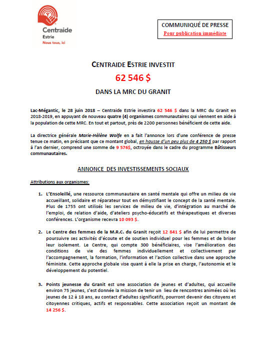 LAC-MÉGANTIC, MRC DU GRANIT
