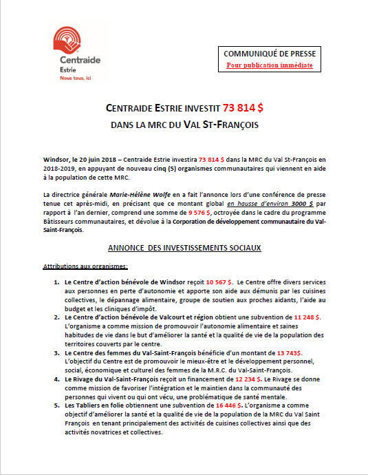 WINDSOR, MRC DU VAL ST-FRANÇOIS
